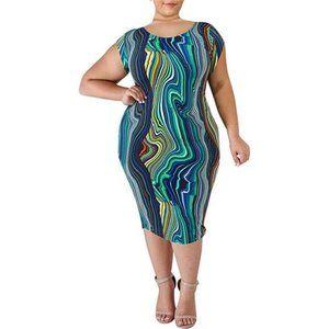 Plus Size Stretchy Bodycon Pencil Midi Dress